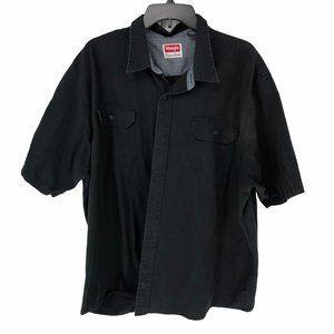 Wrangler Short Sleeve Black Button Down Work Shirt